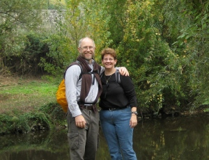 Martin and Angie along the river in Prato, Italy