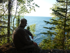Joey looks out towards Thunder Bay from Isle Royale